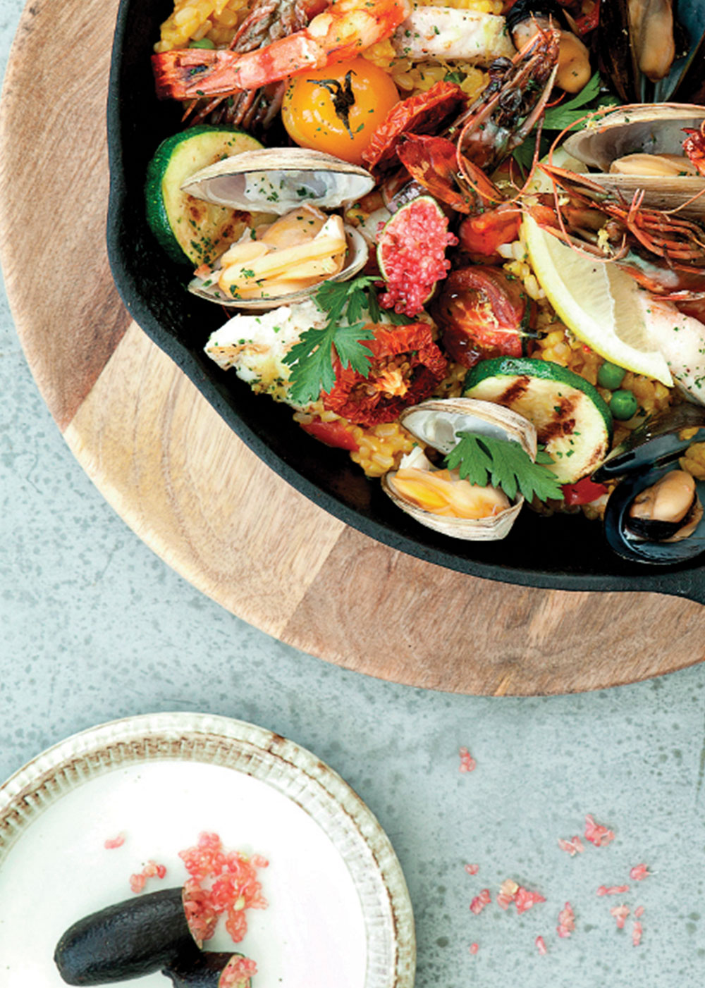 Close up of organic paella