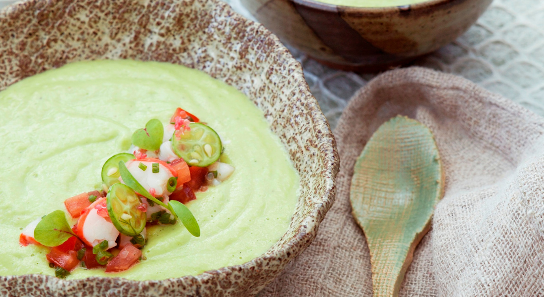 avocado chilled soup with colourful garnish
